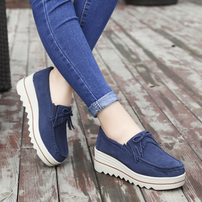 Women's Platform Shoes Suede Cow Leather Slip On Loafers