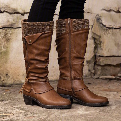 Artificial Leather Knee-High Chelsea Boots