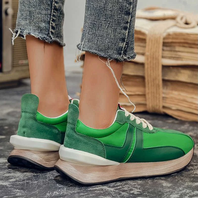 Women Platform Lace Up Round Toe PU Casual Sneakers