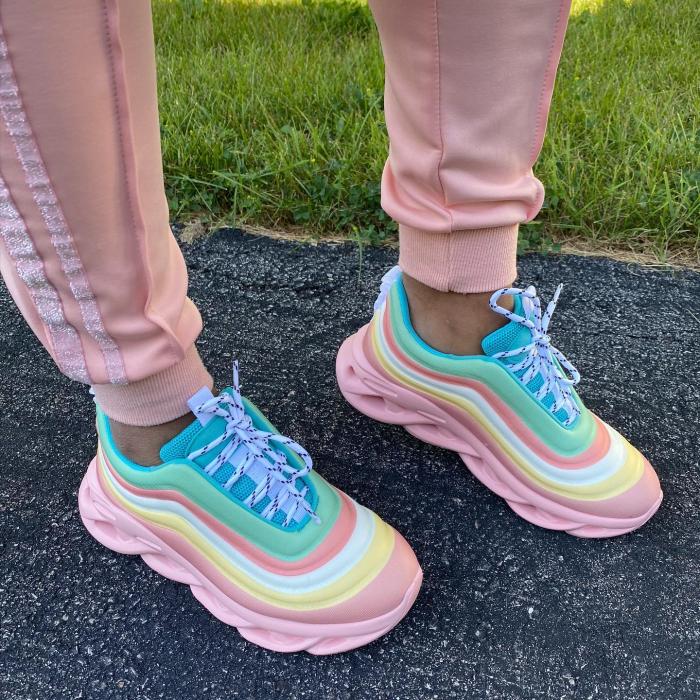 Women Fashion Rainbow Hit Color Stripe Lace Up Platform Sneakers