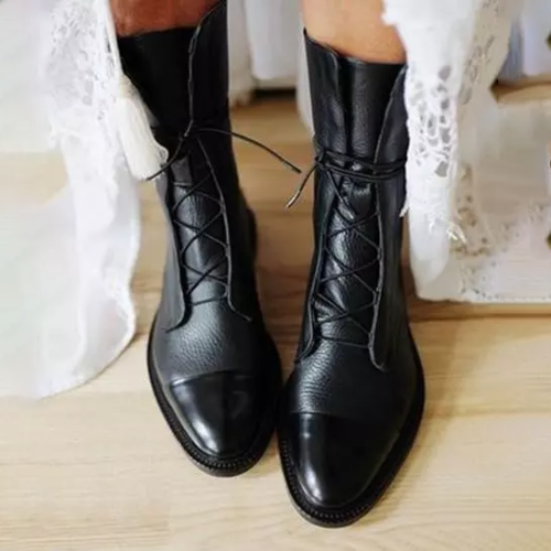Women Comfy Lace Up Wedding Flat Heel Boots