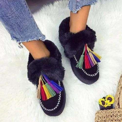 Women's Tassel Fur Flats Flat Heel Boots