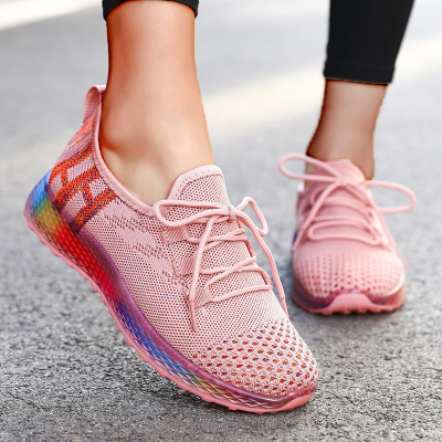 Women's Net Surface Lace-up Closed Toe Fabric Flat Heel Sneakers