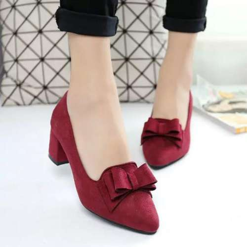 *Bowknot Suede Women Chunky Heel Pointed Toe Pumps