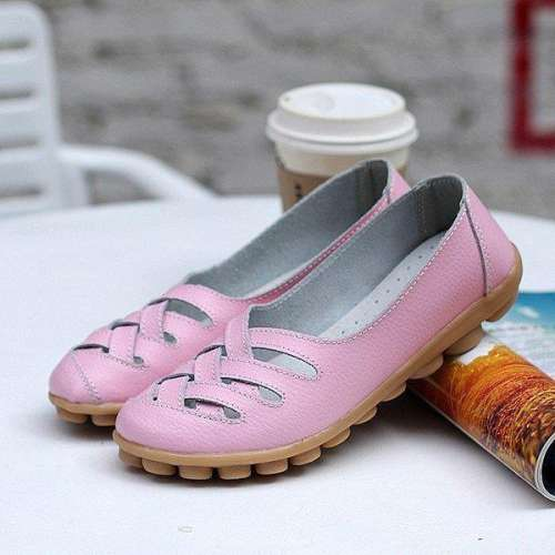 *Larger Size Soft Breathable Slip On Hollow Out Flat Shoes