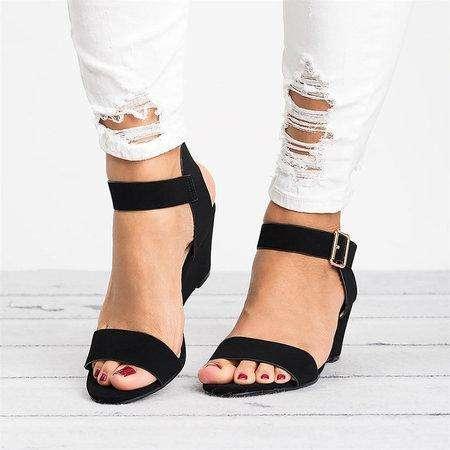 *Women Plus Size Wedges Adjustable Buckle Wedge Sandals