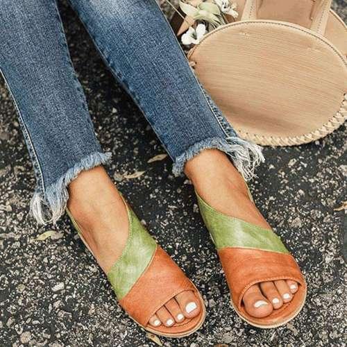 *Women Daily Low Heel Panel Sandals