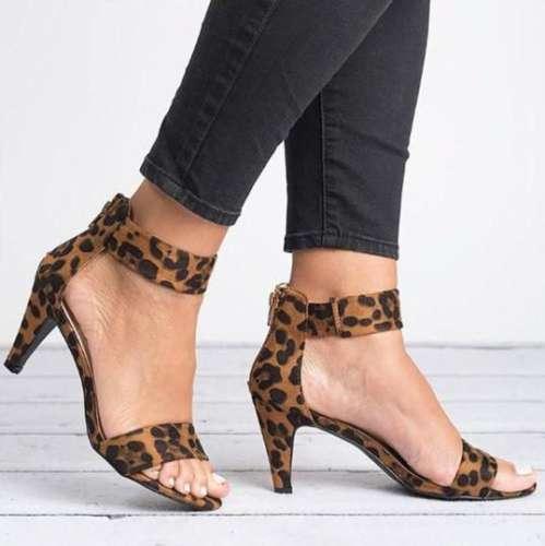 *High Heel Zipper Flocking Sandals