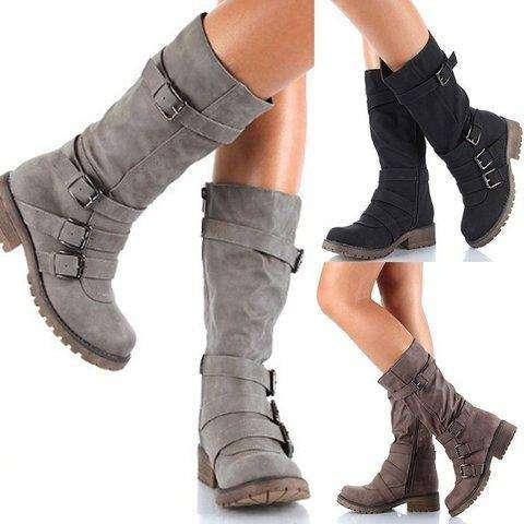 *Wide Calf Women Adjustable Buckle Comfy Mid-Calf Low Heel Boots