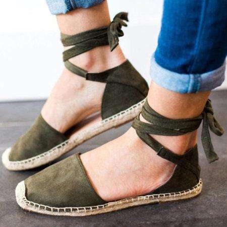 *Ankle Wrap Espadrille Flat Sandals