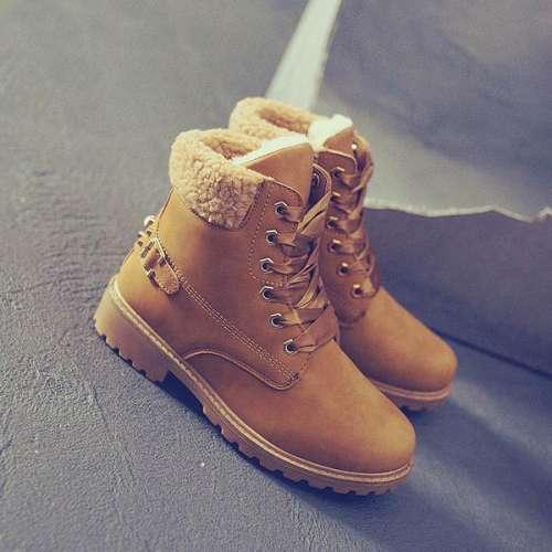 *Martin Fur Winter Warm Snow Rivet Design Ankle Boots