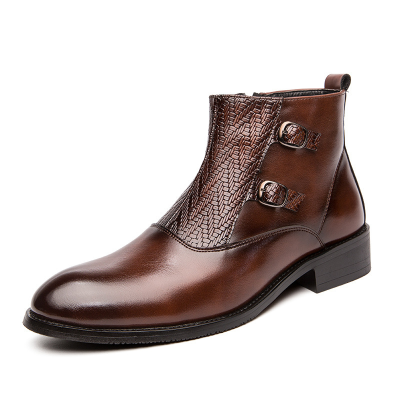 New Fashion Men Top Quality Pu Leather Slip-on Boots