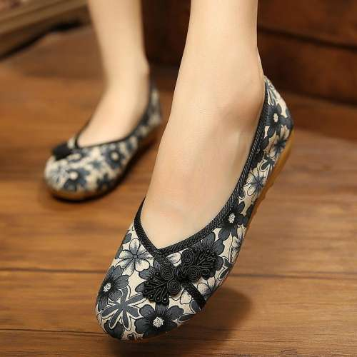 *Old Beijing Vintage Cloth Casual Flat shoes