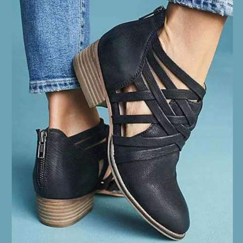 *Criss-Cross Ankle Heel Booties Hollow-out PU Chunky Heel Boots