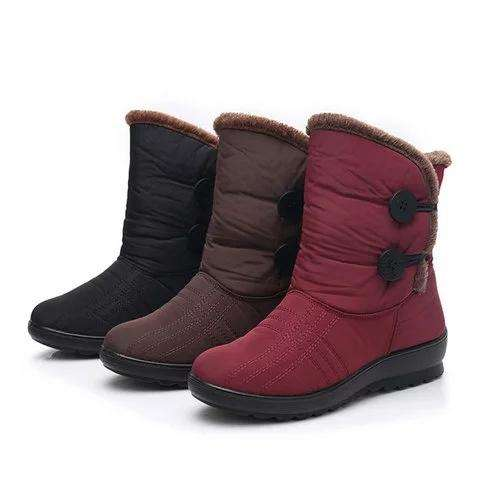 *Women Snow Mid Calf Booties Casual Button Comfort Warm Shoes