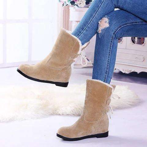 *Women Snow Back Lace Up Boots Casual Shoes