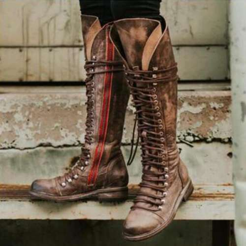 *Women Fashion Motorcycle Knee-high Boots with Zipper