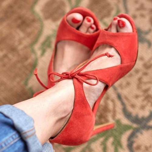 *Daily Lace Up High Heel Flocking Pumps