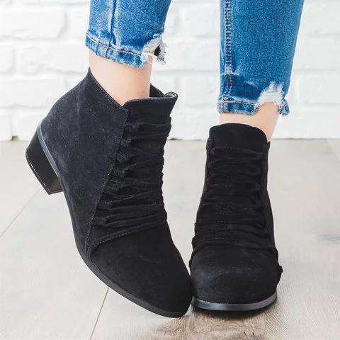 *Fashion Ankle Booties Faux Suede Low Heel Zipper Boots