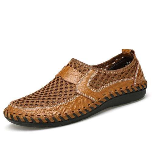 Men Stitching Honeycomb Mesh Soft Loafers Breathable Outdoor Casual Shoes