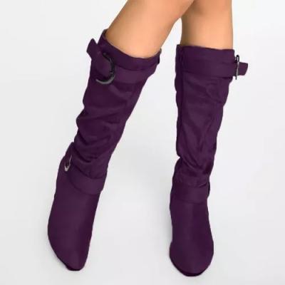 Women's Buckle Zipper Round Toe Kitten Heel Boots