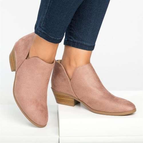 *Womens Zipper Faux Suede Chunky Heel All Season Daily Side Cuts Booties