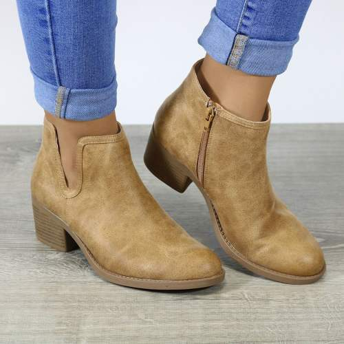 *Large Size Women Qupid Side Cut Chunky Heel Round Toe Zipper Boots Ankle Booties