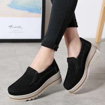 *Large Size Women Breathable Faux Suede Round Toe Slip-on Platform Shoes
