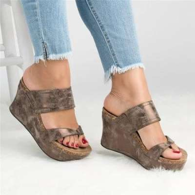 *Large Size Slip On Thong Wedge Sandals