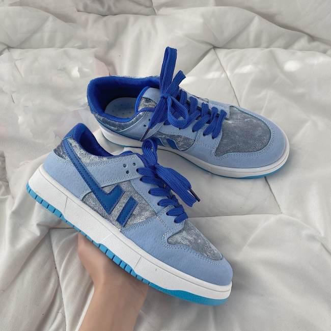 Gentle Milk Blue Suede Retro Sneakers