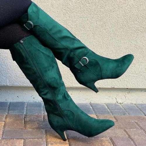 Women's Adjustable Wide Calf Kitten Heel Knee High Boots