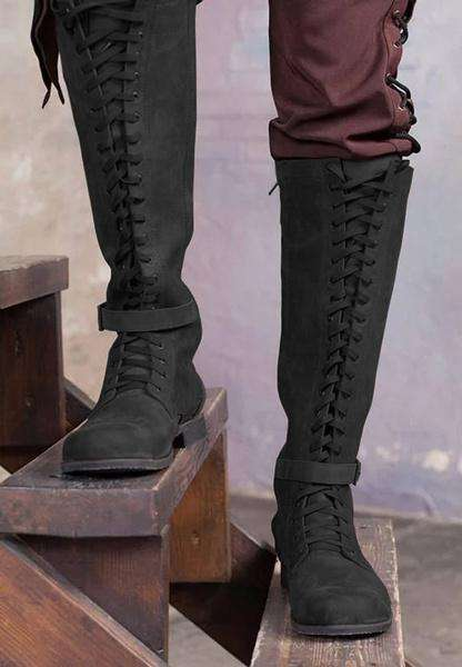 Vintage Knight Knee High Lace Up Boots