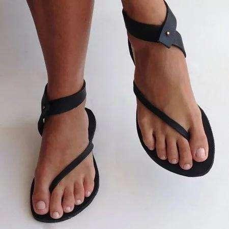 *Black Sandals Women Flip Flops Ankle Wrap Shoes Summer Casual