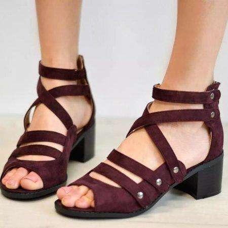 *Plus Size Women Multi-Strap Heeled Sandals