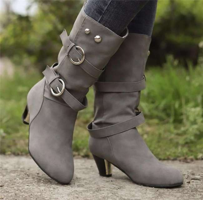 Mid-heel Boots with Belt Buckle