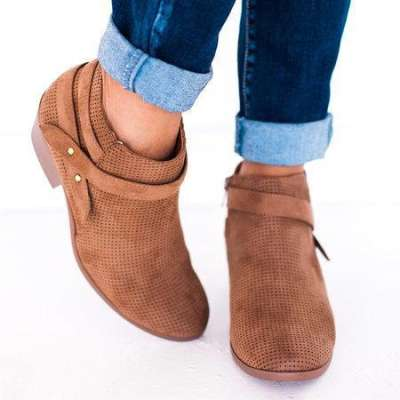 *Women Chunky Heel Zipper Ankle Boots Faux Suede Hollow Daily Booties