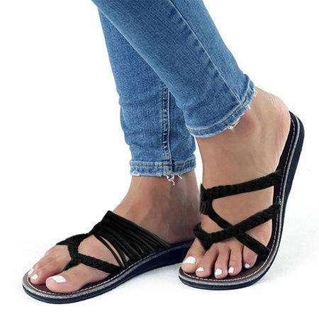 *High Quality Knitted Fabric Flip Flops Cute Beach Slippers