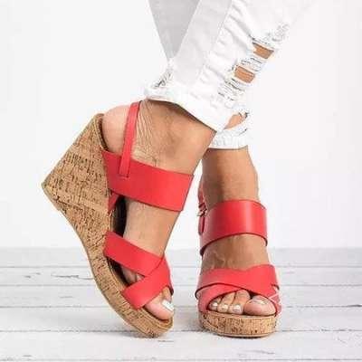 Large Size Adjustable Buckle Cross Wedge Sandals