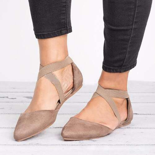 *Suede Pointed Toe Cross Band Flats