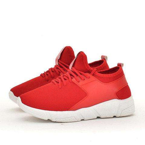 *Breathable Mesh Cloth Panel Fleece Lined Lace-up Sneakers