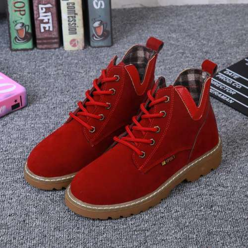 *Women Flocking Booties V Side Lace-Up Sneakers Shoes