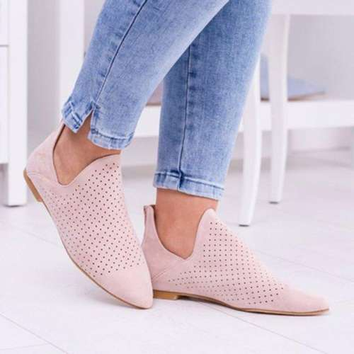 *CUTOUTS SLIP ON CHELSEA BOOTIES LOW HEEL DAILY HOLLOW-OUT ANKLE BOOTS