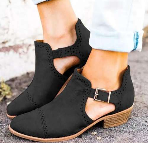 *Women Ankle Strap Hollow Out Chunky Boot