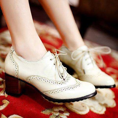 *Womens Lace Up All Season Chunky Heel PU Casual Shoes