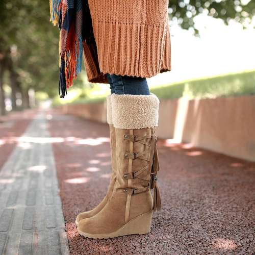 *Wedge Knee-High Boots Winter Warm Boots