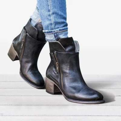 *Vintage Ankle Boots Low Heel Zipper Motorcycle Boots