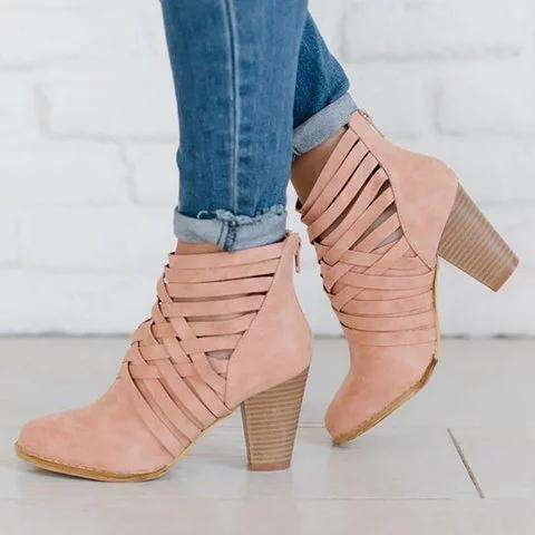 *Leather Hollow Booties High Heel Thick Heels Female Pumps