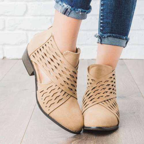 *Laser Cut Criss Cross Booties Low Heel PU Zipper Ankle Boots