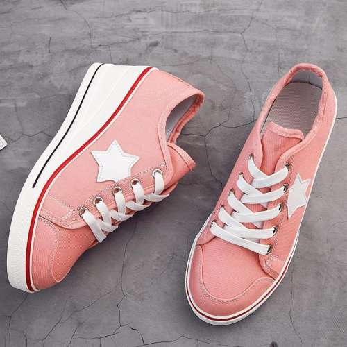 *Women's Sneaker High-Heeled Fashion Canvas Shoes High Pump Lace Up Wedges Side Zipper Shoes