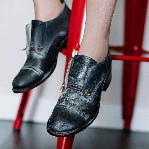 *Color Block Paneled Low Heel Oxford Shoes Pu Slip On Loafers